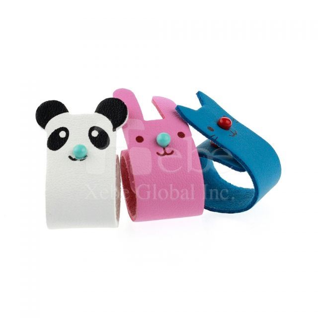 Animal leather cable organizer