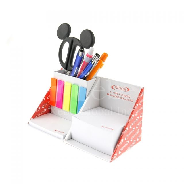 Foldable note cube with pen holder School commodity